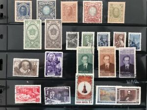 RUSSIA LEFTOVERS ON STOCK SHEET - SOME NICE STAMPS IN THE LOT -  HIGH VALUE!