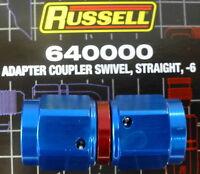 Russell 640000 Female Adapter Swivel Coupler -6AN #6  AN6 Straight Blue