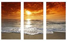 3 Split Orange Sunset Beach Canvas Prints Wall Art Picture 125cm x 60cm