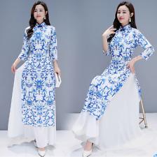 Ladies Floral Printed Split Long Cheongsam Dress Chinese Slim Retro Formal Qipao