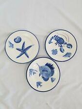 Pottery Barn 3 Blue and White Fish Shell Coastal Beach Nautical Plates Set