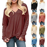Women's Plus Size Solid Interlacing Desig Long Sleeve O-neck Pullover Tops Shirt