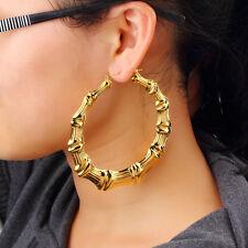 1 Pair Fashion Punk Gold Tone Bamboo Big Hoop Large Alloy Circle Earrings  VC