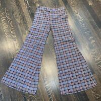 Vtg 60s 70s Bell Bottom Pants Plaid Wool Disco Hippie Flare Leg Mod WOMENS 28 30