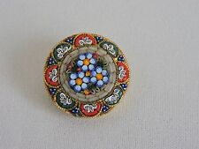 Italian Mosaic Brooch Pin Flower Floral Circle Womens Jewelry Italy 1.5 inches
