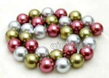 "12mm Multicolor Shell PEARL Beads for Jewelry Making loose Strands 15""-los261"