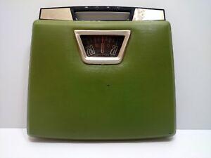 Retro 1950's Green Vinyl Top Vintage Borg Chrome Metal Bathroom Scale w/ Handle