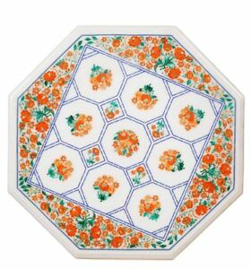 """36"""" x 36"""" Inlay Work Marble Table Top Floral Art Handicrafts Home Decor"""