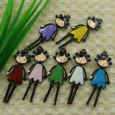 free ship 13 pieces alloy enamel mixed colors girl charms pendant 56x21mm #4497