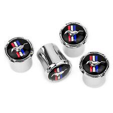 Ford Mustang Horse & Bar Black Logo Chrome Tire Valve Stem Caps  - USA Made