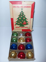 "Vintage Small 2"" Balls Made in Japan Christmas Tree Ornaments Decorations in Box"