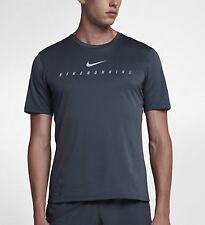 Nike Miler Flash Para Hombre Reflectante Correr Top Medio Camiseta Azul 858075-471