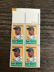 US Stamps -  #2016 - 20c Jackie Robinson Plate Block of 4