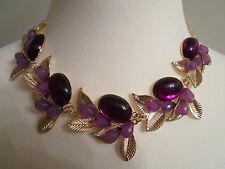 Halskette Collier Modeschmuck Lila/Gold Ausdrucksstark Metall Länge 45 Beauty