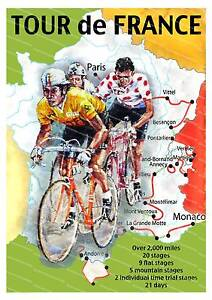 Tour de France, old cycling poster reproduction.