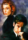ACEO ATC Sketch Card - The X-Files Fox Mulder and Dana Scully