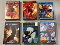 Lot Of 6 Movies DVD Blu-ray ~ Spider-Man 1, 2, 3 ~ Batman ~ Cat woman ~ Superman