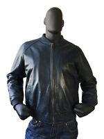 Jakewood Men's Navy Genuine Lambskin Leather Baseball Bomber Jacket, Size M