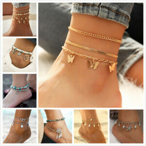 Various Styles Anklet Ankle Bracelet Foot Chain Heart Beads Butterfly Colorful