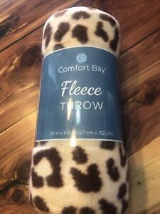 "Comfort Bay Fleece Throw Blanket Leopard Print Brown 50"" x 60"" Soft and Warm NEW"