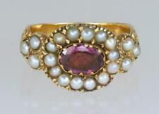 Ornate Antique English Ring Ca 1800 Georgian 15ct Gold Pearl & Pink Sapphire