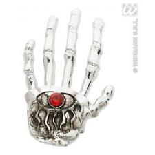 Ladies Silver Skeleton Hand Ring Halloween Skull Fancy Dress Accessory