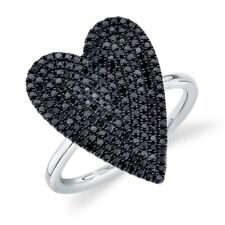 Heart Black Diamond Ring 14K White Gold Womens Round Pave Cocktail Right Hand