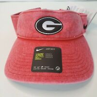 Nike Georgia Bulldogs NCAA College Football Washed up Red Sun Visor Hat Golf