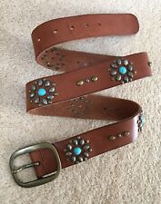£150 New All Saints 'Darius' turquoise studded Tan Leather Belt Brass Buckle 34