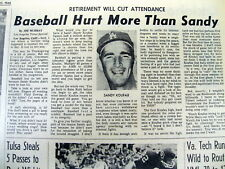 1966 newspaper Los Angeles Dodgers star pitcher SANDY KOUFAX RETIRES fm BASEBALL