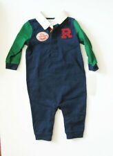 Polo Ralph Lauren Baby Boys Cotton Rugby Coverall French Navy Sz 3M - NWT