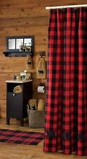 RED BUFFALO BEARS SHOWER CURTAIN : BLACK CHECK LODGE CABIN PLAID COUNTRY