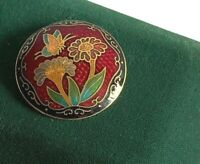Vintage Cloisonne Enamel Brooch Round Floral Red Green Statement Fashion