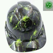 Hard Hat Custom Hydro Dipped Osha Approved Hell Raiser Skulls Hi Vis Green