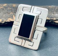 MEXICO Mexican Black Onyx Ring Size 8 Sterling 925 Silver Made in Taxco -NEW