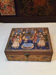 Decorative Tea-bag Storage Box with Exquisite Qajar Persian Paint Artwork