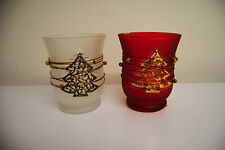 Windlicht Teelichthalter mit Glas weiss rot Weihnachten Kerzengläser Tannenbaum
