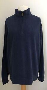 Orvis Mens Dark Blue 100% Cotton Ribbed Jumper Medium