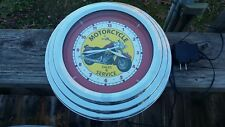 "MOTORCYCLE  Sales & Service Neon 12"" Wall Clock Glass Face Chrome Finish"