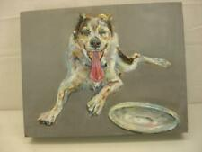 Australian Cattle Dog Blue Heeler Dog Painting Original Signed Santa Fe Nm Board