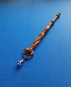 Wood Mother & Babe Lace Bobbin. With a Light Wood Babe in Shank. Spangles.