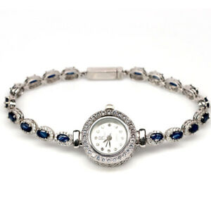 NATURAL 3 X 5 mm. BLUE SAPPHIRE & WHITE CZ 925 STERLING SILVER WRIST WATCH