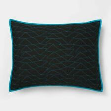Pillowfort Black / Blue Triangle Stitch Quilted Sham Standard