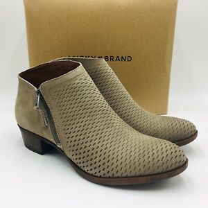 Lucky Brand Women's Brielley Perforated Bootie Size 12M Brindle Leather