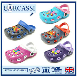 Kids Summer Clogs Childrens Girls Boys Holiday Beach Sandals Pool Shoes Size 6-2