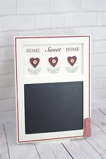 Shabby Chic Home Sweet Home Memo Chalkboard Chalk Pocket Red & Cream 34cm F0695