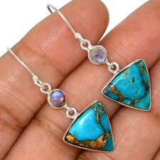Copper Blue Turquoise - Arizona & Rainbow Moonstone 925 Silver Earrings AE87295