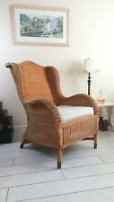 Bamboo Wicker Wing Back Armchair copper feet Delivery Possible