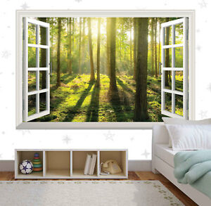 Green Trees Forest Nature 3d Window Wall Sticker Art Vinyl Decal Decor Mural
