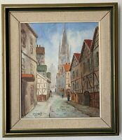 Vintage Oil Painting German Street Scene Cathedral Art Signed Impressionism